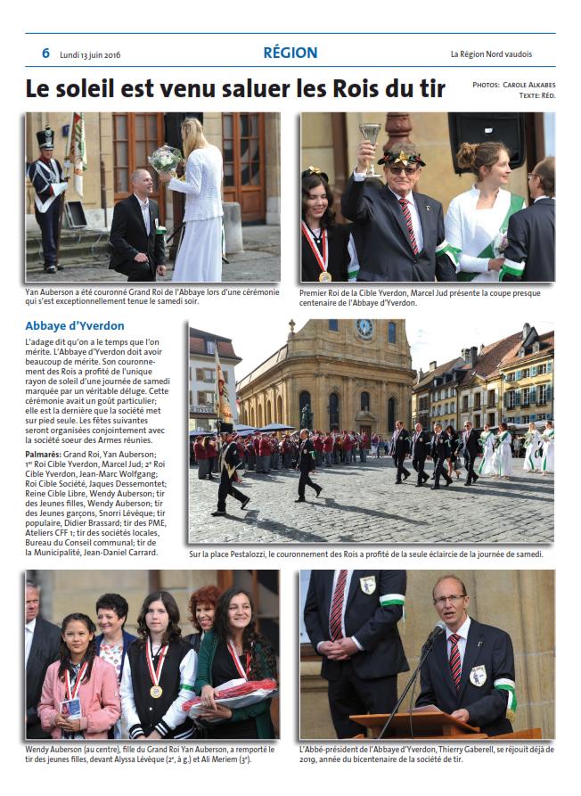 2016 article de presse du couronnement